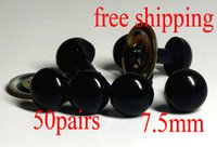 Wholesale Diy Safety Eyes - 50pairs 7.5mm Craft Plastic Black Safety Eyes For Dolls Toy Doll DIY Making For Children DIY Doll Accessories