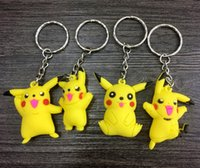 Wholesale Silicone Men Dolls For Women - 2016 New New Poke mon Silicone Keychains 3D Doll Cartoon Pocket Monster Pikachu Keychain Key Ring Christmas Gifts For Children