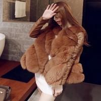 Wholesale Ladies Hooded Cloaks - Wholesale ladies European style imitation fur coat fox fur coat 3 color mosaic cloak fashion 3XL
