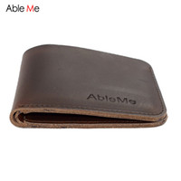 Wholesale Hand Made Leather Purses - Wholesale- AbleMe Two Folded Short Section Men Leather Handmade Wallet Can Custom Name Elegant Fashion Purse Gift For Men Hand Made