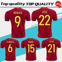 Wholesale 15 Yellow - Spain home red Soccer Jersey 2016 17 Spain soccer shirt 2017 #9 MORATA #22 ISCO #20 ASENSIO #15 RAMOS #7 DAVID VILLFootball uniforms sales