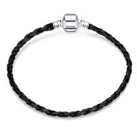 Wholesale Traditional Fashion For Silk - European Stye Fashion Jewelry Charm Bracelets Black Silk Cord Chain Silver Plated bracelets for Women Men Party grils Free Shipping