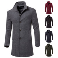 Wholesale mens woolen trench coat - Mens Trench Coats Winter Fashion Long Jackets Single Breasted Woolen Slim Fit England Style Coats Solid Color Handsome Wear