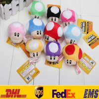 Wholesale Mario Cell Phone Charms - Mushroom Plush Toys Cartoon Super Mario Bros Pendant Stuffed Keychains Key Rings Doll Toys Cell Phone Charm Chain Gifts H7cm HH-T22