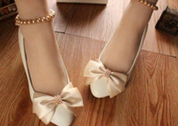 Wholesale Gold Heels For Bridesmaids - Champagne gold with bowknot dance performances in flat white shoes low with the soft bottom bridesmaid wedding photos for women's shoes @74