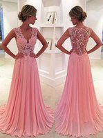 Wholesale Elegant Pink Sheer Prom Dresses Lace Bodice V Neck Long Chiffon Prom Dress Special Occasion Women Party Gowns Vestidos de Festa Curto