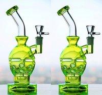 Wholesale glass fluorescence - Fluorescence Green Skull Oil Rigs Glass Bongs Newest Fab Egg Glass Bong Hookahs Cheap Hand Blown Water Pipes