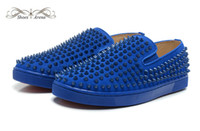 Wholesale Full Slip 46 - Size 36-46 Men & Women Blue Suede With Full Spikes Red Bottom Low Top Fashion Sneakers, Unisex Luxury Brand Flats, Comfortable Casual Shoes