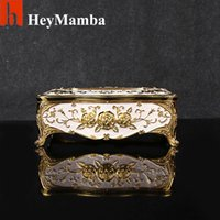 Atacado- Home Car Metal Tecido Caixa Case Europeu Gold Plated Rose Guardanapo Suporte de papel Zinc Alloy Removable Tissue Box Guardanapo Box