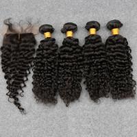 ingrosso chiusura di seta dei capelli ricci mongoli profondi-8A capelli vergini mossi non trattati capelli vergini mongoli con chiusura in seta capelli vergini mongoli ricci con chiusura in seta