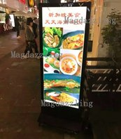 Wholesale Led Aluminum Frame Light Box - Wholesale- Battery Operated Stand Double Sided Magnetic Black Aluminum Frame LED Edgelit Menu Light Box for Restaurant