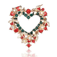 Wholesale Red Heart Lapel Pin - European Heat Sell Love Garland Butterfly Pin Brooch Christmas Gift Clothing Accessories Heart Brooches Rhinestone Lapel Pins