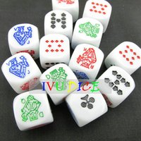 10pcs 6side 16MM D6 Dice Blanco o amarillo Color poker 9 10 J Q K Una máquina de impresión Game Party dados bosones IVU