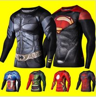 Wholesale Superman Sport Dhl - 2016 New Fitness Compression Shirt superhero Sport Wear Men Superman Captain America Batman Spiderman Iron Man Sport T-shirt DHL FREE