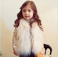 Wholesale Girl Faux Coat - Cute Girls Waistcoat Fur Vest Warm Vests Sleeveless Coat Children Cheap Outwear Winter Coat Baby Clothes Kids Clothing Girl Waistcoat MC0307