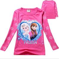 Wholesale Chiffon Shirts For Kids - Brand ,2-7T Kids T-shirt Girls Clothes Elsa T Shirt Long Sleeve Tops&Tees Children T Shirts for Girl T Shirt Cotton