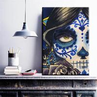 lona de pintura abstrata da cara venda por atacado-ZZ691 modern abstract canvas art menina bonita metade do rosto da lona pictures pintura a óleo da arte para sala de estar quarto decoração arte