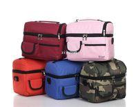 torba bölmeleri toptan satış-piknik öğle yemeği çantası yalıtımlı soğutucu çanta iki bölmeleri öğle yemeği kutusu, 24x16x22cm