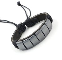 Wholesale Magnetic Hematite Stone - High Quanlity Hematite Jewelry Bracelets Magnetic Therapy Stone Leather Bracelets Infinity bracelet Punk Bracelets Unisex Charm Bracelets