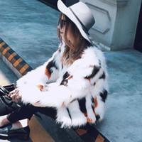 Wholesale Faux Fur Vests For Women - 2017 Winter Fashion Slim Faux Fur Coat For Womens Long Sleeve Warm Short Imitation Faux Fur Coat Plus Size 3XL Fur Vest FS3084