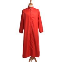 siyah adam kostümü toptan satış-Roma Beyaz / Siyah Priest Cassock Robe Elbise Clergyman Vestments Tek Göğüslü Düğme Yetişkin Erkekler Cosplay Kostümleri