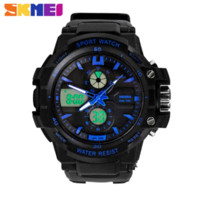 Wholesale Diving Men S Watch - New S Shock Fashion Watches Men Sports Watches Skmei 2 Time Zone Digital Quartz electronic LED dive Military wristwatches