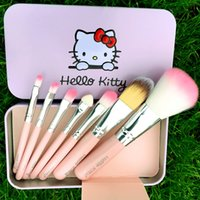 10000 black iron set - NEW Black Hello Kitty Make Up Cosmetic Brush Kit Makeup Brushes Pink Iron Case Toiletry Beauty Appliances set DHL free