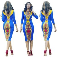Wholesale Paisley Robe - Newest African Dresses for Women Long Sleeve Midi Dress Fashion Casual Autumn Bohemian Blue Robe Print Bodycon Dashiki Dress WE702130