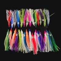Wholesale luminous bait worms - 100Pcs Cm Soft Plastic Octopus Fishing Lures For Jigs Mixed Color Luminous Silicone Octopus Skirt Artificial Jigging Bait