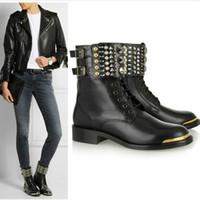 Wholesale Round Metal Rivets - 2016 New black suede metal round toe Diamond Rivet ladies riding short boots belt buckle low heeled Locomotive boots