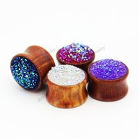 Wholesale 2016 flash rosewood ear plugs piercing tunnels body jewelry with fashion shiny stone design ear gauges