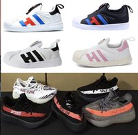 Wholesale Pink Baby Sneakers - 2018 Best kids SPLY 350 V2 boost Superstar baby shoes sneakers boys girls Running Sports child toddlers drop shipping