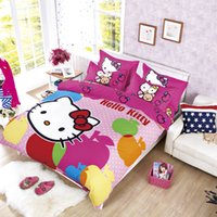 Wholesale Blue Coverlet Queen - Wholesale- Our Polyester Cotton reactive printed Hello Kitty bedding set, full, queen queen size bed coverlet set, 3 4 pcs, fast shipping!