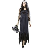 Wholesale Sexy Wedding Uniform - Female Sexy Cool Beauty Black Lace Tulle Wedding Long Dress Halloween Game Uniforms Role Play Costume Ghost Bride Cosplay