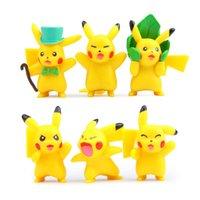 Wholesale Figurine Baby - 6 pcs lot Kawaii Poke Figurine pikachu mon action figures toys baby dolls toys 3.5-4cm