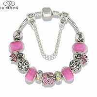 Wholesale Cancer Ribbon Beads - Women Breast Cancer Awareness Pink Ribbon Rhinestone European Beads Charm Bracelets Bangles For Women Handmade Jewelry accessories