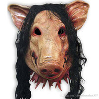Wholesale horror saw face - On Sale Horror Mask Saw 3 Pig Scary Mask Adults Full Face Animal Latex Masks Halloween Horror Masquerade Mask With Hair