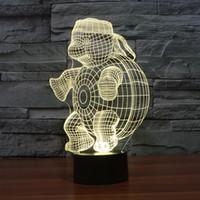 Wholesale Tortoise Led Light - 2016 tortoise turtle 3D Night Lamp Optical Night Light 9 LEDs Night Light DC 5V Factory Wholesale hot
