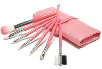 Wholesale Sleek Make Up - Wholesale-HOT Professional High Quality 7 Makeup Brush Set in Sleek Pink Golden Leather-Like Case Portable Make up Brushes