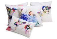 Wholesale Flower Watercolor Paintings - Birds Flowers Cushions Covers Watercolor Painting Hummingbird Bird Love Cushion Pillow Cover Decorative Sofa Throws Linen Cotton Pillow Case