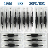 "Wholesale 9rs needles - 20 x Disposable Tattoo Grips Tube with Needles Assorted 9RS Size 3 4"" (19mm) For Tattoo Gun Needles Ink Cups Grip Kits"