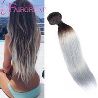 Wholesale Striaght Brazilian Hair - Striaght Hair Extension 3Pcs Brazilian Indian Human Hair Virginn 100% Weft Two Tone Ombre 1B Light Grey Hair Straight Malaysian Hair