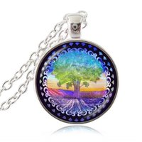 Wholesale Family Christmas Sweaters - Family Tree of Life Sweater Necklace Cabochon Glass Time Gemstone Pendant Fashion Accessories Woodland Plant Jewelry Blessing Necklaces