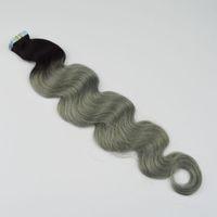 perulu dalga saç uzantıları toptan satış-Ombre Bant Saç Uzantıları T1b Gri Perulu Vücut Dalga Virgin Saç Iki Ton PU Cilt Atkı Bant İnsan Saç Uzantıları