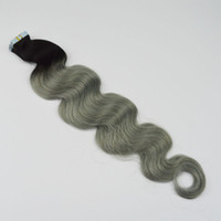 peruanischen bandhaar großhandel-Ombre Tape Haarverlängerungen T1b Graue Peruanische Körperwelle Reines Haar Zwei Ton PU Haut Einschlagband In Menschenhaarverlängerungen