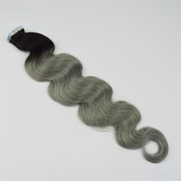 Wholesale Two Tone Tape - Ombre Tape Hair Extensions 1b Grey Peruvian Body Wave Virgin Hair Two Tone PU Skin Weft Tape In Human Hair Extensions