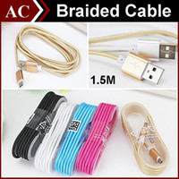Wholesale Head Phone Plugs - 5FT 1.5M Long Strong Fabric Nylon Braided Micro USB Charging Cable Line For Smart Phones Samsung HTC Sony LG Best Wire With Metal Head Plug