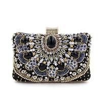 47616b37e6f39 Mode Kristall Frauen Abendtasche Mit Stein Perlen Clutch Bag Für Elegante  Damen Bankett Handtasche Schwarz Klassische Partei Geldbörse