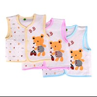Wholesale Waistcoats For Infants - Wholesale-Baby's Lovely Outwear Cotton Vest For Autumn And Winter Baby Infants V-Neck Character Pattern Printed Vest Kids' Warm Clothings