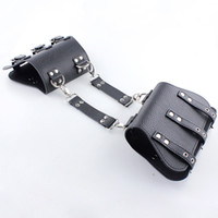 Nuovi polsini da polso Bondage Restraint Nero PU Leather Back Bondage Polsini con risvolto Arm Binder Long Glove Sex Prdoucts Per adulti Giochi